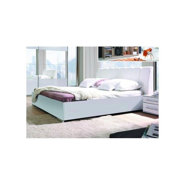 Price Factory Ensemble Blanc Brillant Lit Design En Simili Cuir Et