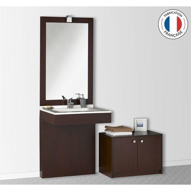 Creazur - Meuble salle de bain Pmr simple vasque MorphÉA 70 – Wengé ...