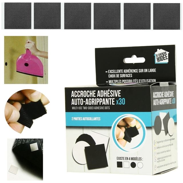 Promobo Lot 30 Accroches Adhésives Velcro Suspension Murale Forme Carré Noir
