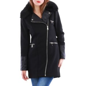 lamodeuse manteau bi mati re col fourrure amovible noir pas cher achat vente veste femme. Black Bedroom Furniture Sets. Home Design Ideas