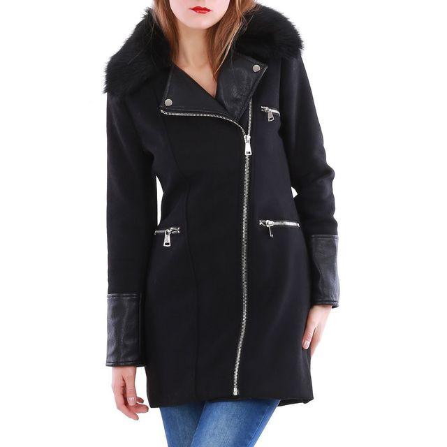 Lamodeuse - Manteau bi-matière col fourrure amovible noir - pas cher ... f6e8c23dd00