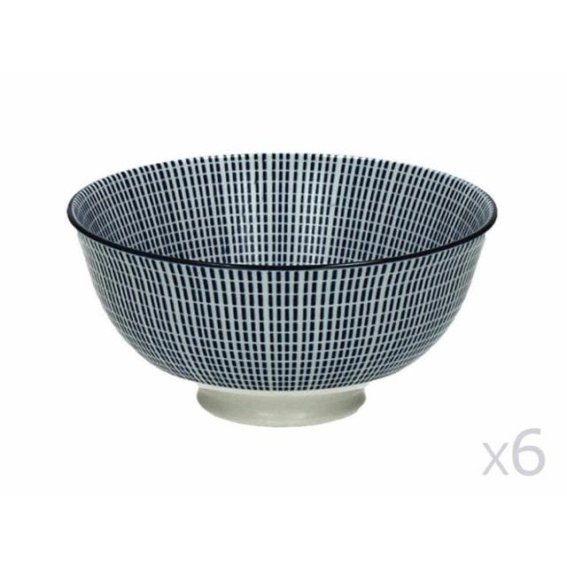 Pomax - Bol en porcelaine motif tiret bleu - Lot de 6 Saigon