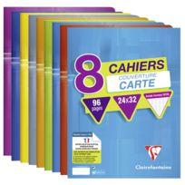 CLAIREFONTAINE - Lot de 8 cahiers - 24 x 32 cm - 96 pages