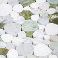 Capri - Mosaïque Galets plats Pure Bubble blanche et verte