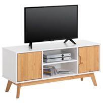 f13db80ec6d IDIMEX - Meuble TV TIVOLI banc télé de 114 cm design vintage scandinave  nordique 2 portes