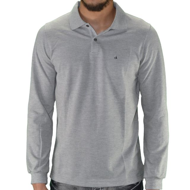 1be00ebf7782f Calvin Klein - Polo Manches Longues - Homme - Pete Fitted 300054 - Gris  Chiné - pas cher Achat / Vente Polo homme - RueDuCommerce