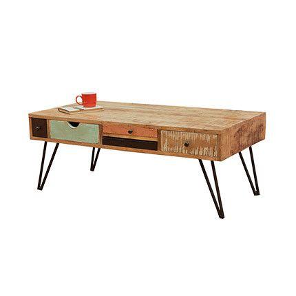 Table basse 5 tiroirs en manguier et métal