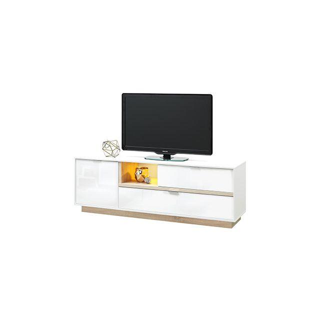 Meuble Tv 176x59x43cm blanc brillant et bois naturel