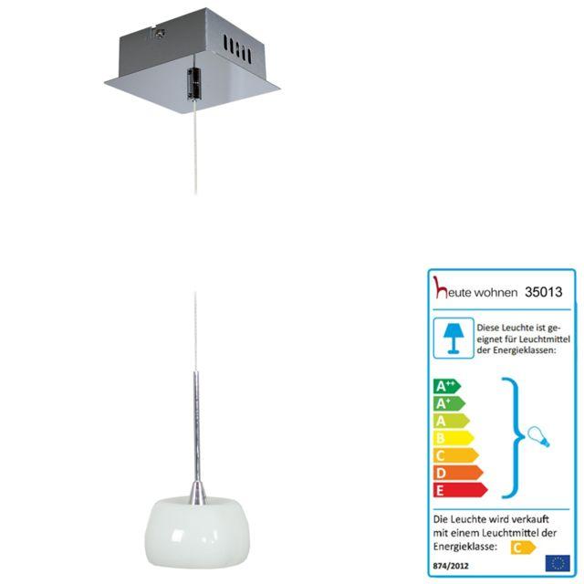 Mendler Lampe suspension, Hw117, abat-jour en verre, 1 flamme