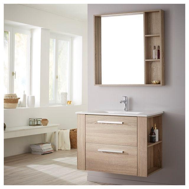 Soldes Ensemble meuble de salle de bain 80 cm + miroir couleur chêne  cambrian Chêne Cambrian Planete Bain