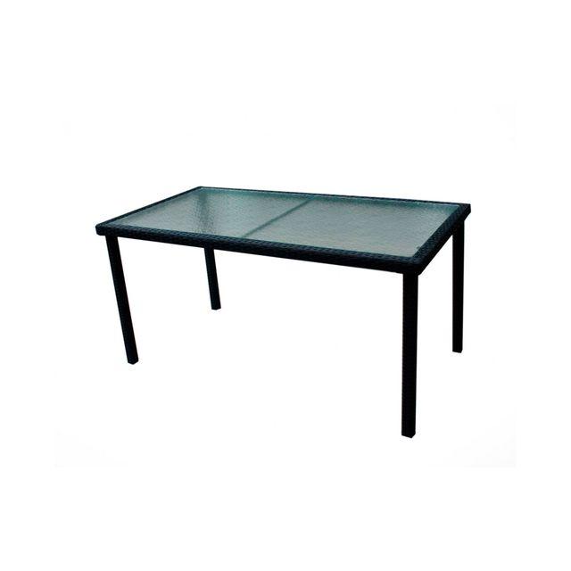Wood En Stock - Table de jardin en résine tressée et plateau verre ...