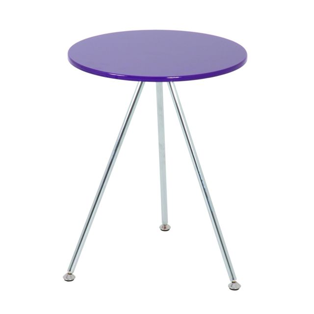 Distingué NUANCEMEUBLE table d'appoint San Salvador chromé-mûre H52 Ø40 cm