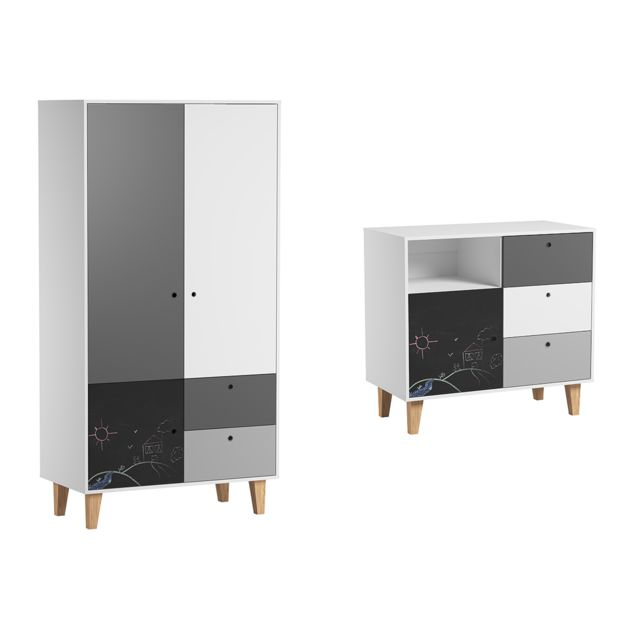 Vox Commode à langer et Armoire 2 portes Concept - Noir
