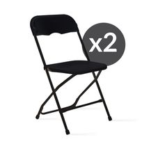 2 chaises pliantes noires de réception