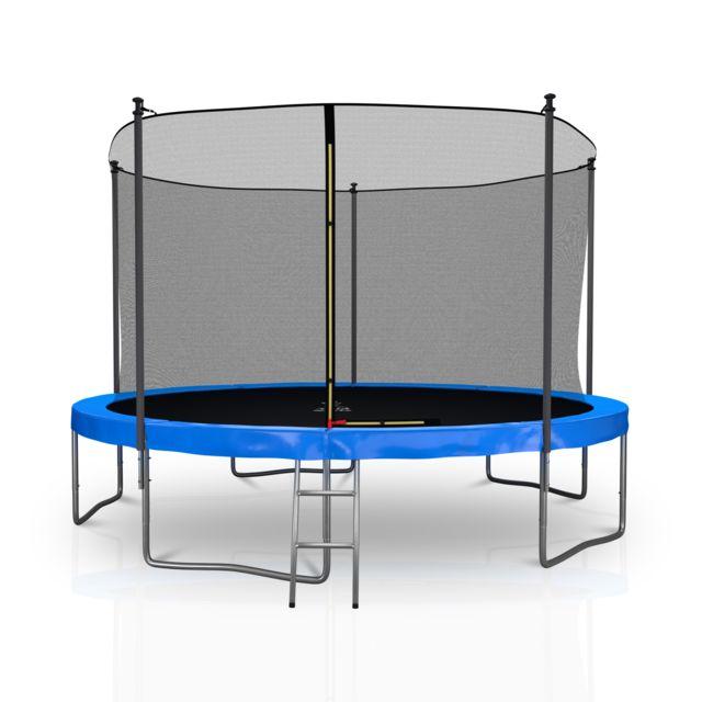 Kaia Sports Trampoline extérieur 12Ft / ø366cm Classique Pack trampoline de jardin avec Filet intérieur, mousse de protection, échel