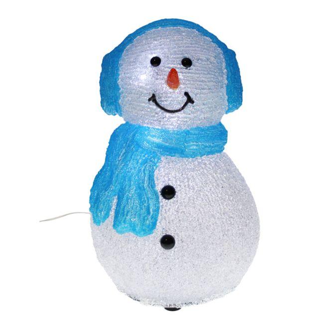 Blachereillumination Bonhomme de neige lumineux 3D bleu avec cache oreille  + écharpe 528e468f75a