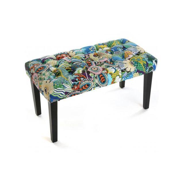 DECLIKDECO Simple mais original de par ses couleurs, ce Banc bout de lit en tissu patchwork L.80cm, TROPICAL fera de votre chambre
