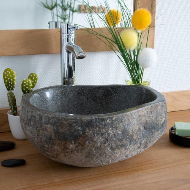 Ocean Line - Vasque de salle de bain à poser en pierre de rivière ø ... e8485a4cdf33