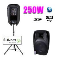 "Ibiza - Enceinte Dj active 10""/25CM 250W Usb/SD/BT + pied"