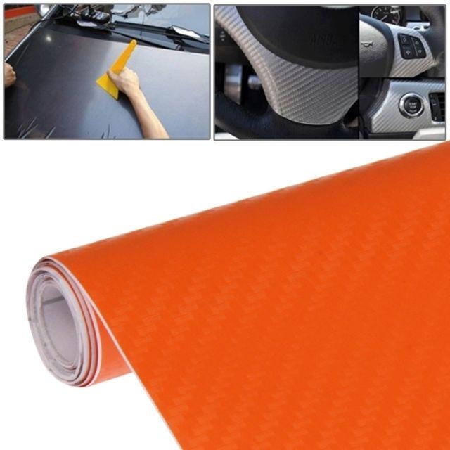 wewoo film voiture orange autocollant de pvc de fibre de carbone 3d d corative de voiture. Black Bedroom Furniture Sets. Home Design Ideas