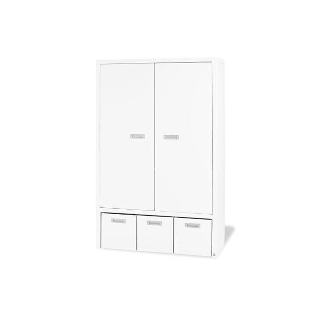 Comforium Armoire 181 cm à 2 portes en Mdf blanc avec 3 caisses colorées
