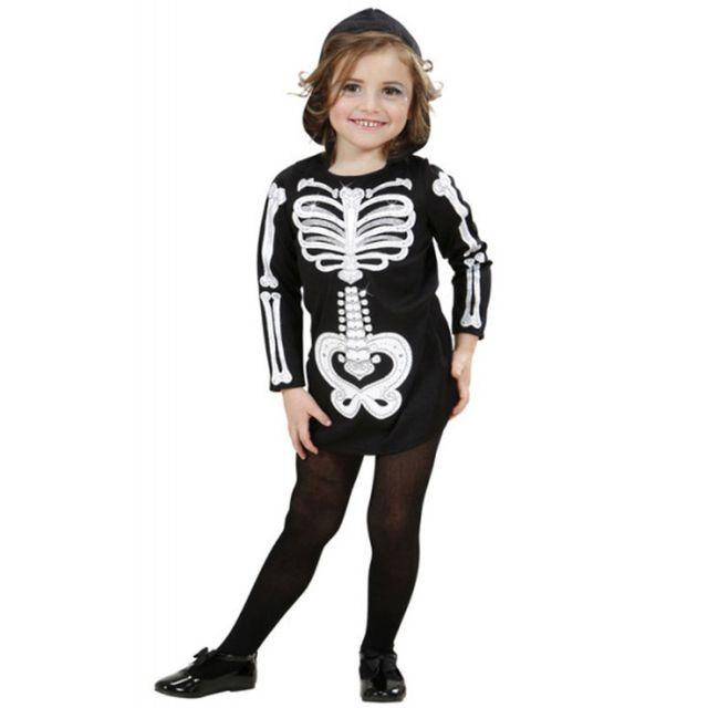97bea53c9ece4 Widmann - Déguisement squelette pailleté fille Halloween 8 à 10 ans ...