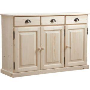 aubry gaspard buffet 3 portes 3 tiroirs en bois brut. Black Bedroom Furniture Sets. Home Design Ideas