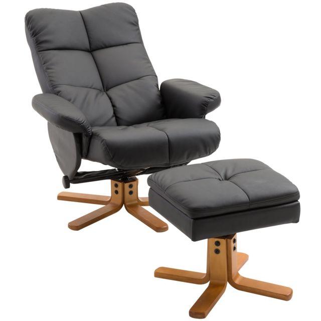 HOMCOM - Fauteuil relax inclinable style contemporain repose-pieds coffre  rangement simili cuir acier bois 8bc09e1080d5