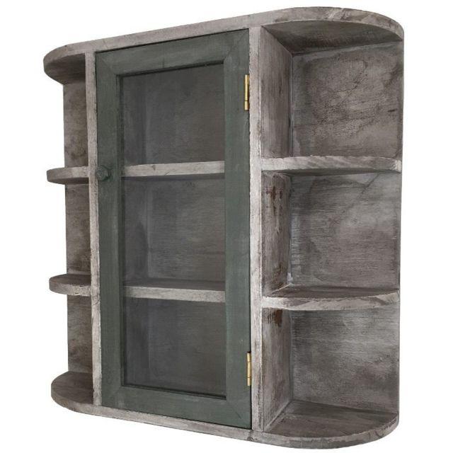 chemin de campagne etag re murale de cuisine porte epices ou autre bois 58x60x17 cm gris pas. Black Bedroom Furniture Sets. Home Design Ideas