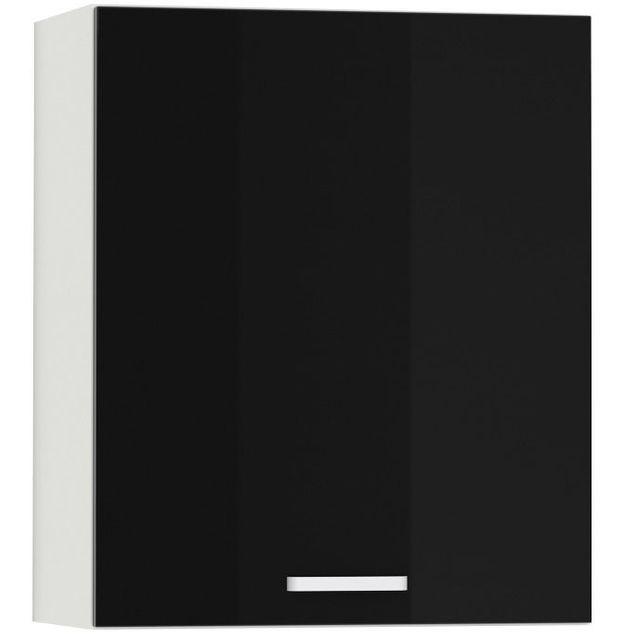 Comforium Meuble haut de cuisine design 60 cm avec 1 porte coloris blanc mat et noir laqué