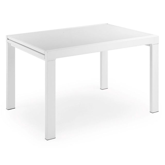 Kavehome Table extensible Norfolk 90 180, x65 cm, blanc