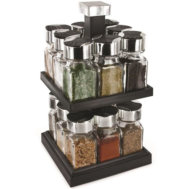 8d6280b8b4ac1 Touslescadeaux - Carrousel à épices tournant - rangement porte épices - 16  pots en verre