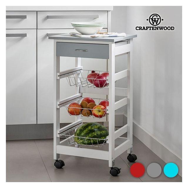 Moderne Chariot de cuisine en bois à roulettes - Desserte service Couleur NP-85