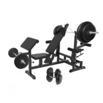Gorilla Sports - Banc de musculation universel noir + Set haltères disques plastiques et Barres 97,5kg