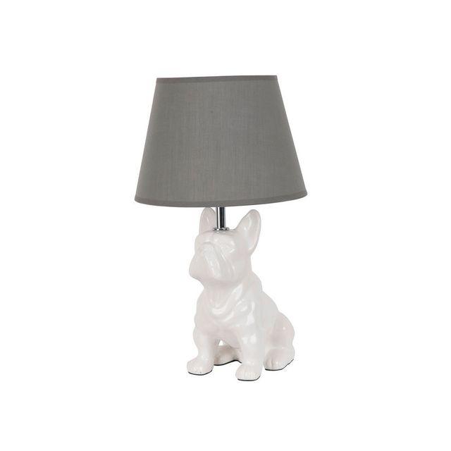 Corep Lampe à poser en céramique forme chien assis
