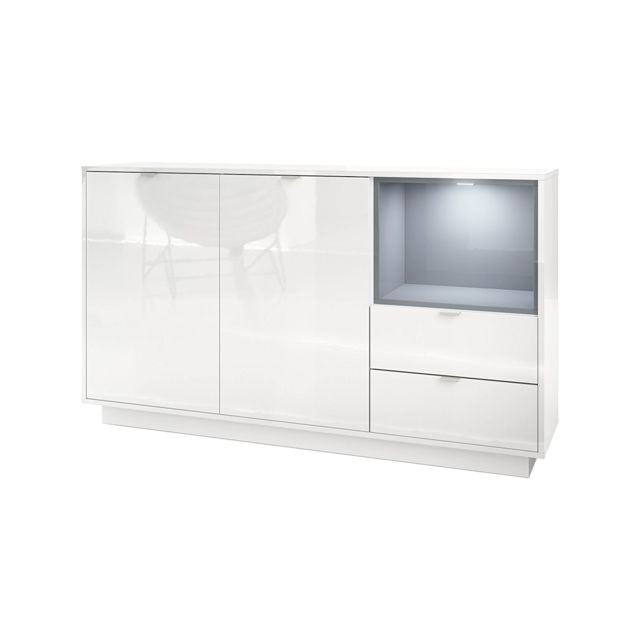 Mpc Buffet 153 cm laqu? blanc avec insertion en gris