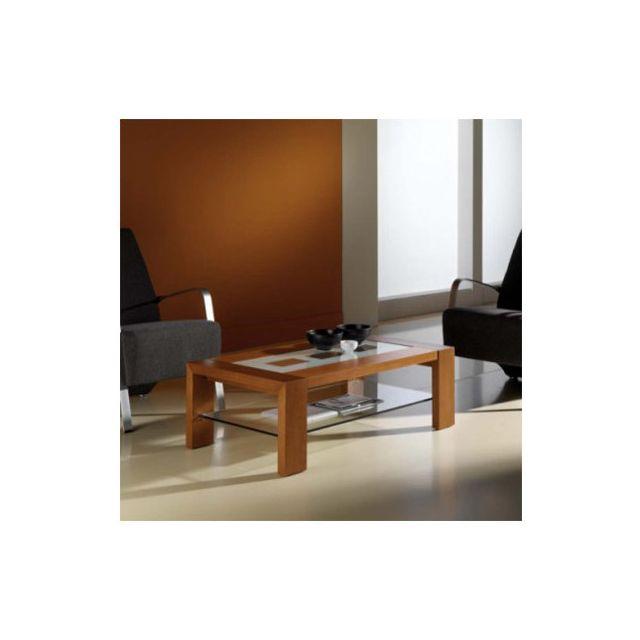 Sofamobili Table basse couleur teck avec 2 plateaux en verre contemporaine Artemisia