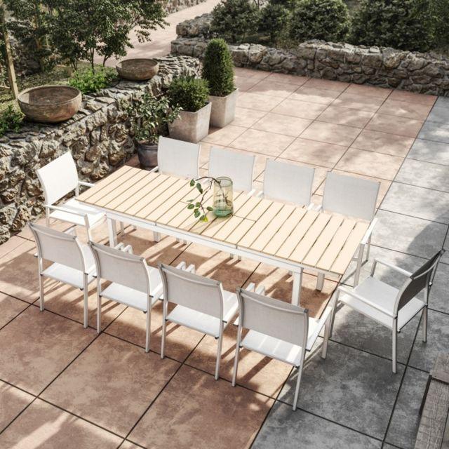 Avril Paris - Table de jardin extensible aluminium blanc 180/240cm + ...