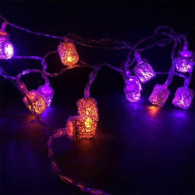 LEBLANC ILLUMINATION Guirlande déco orangé et violet sur pile