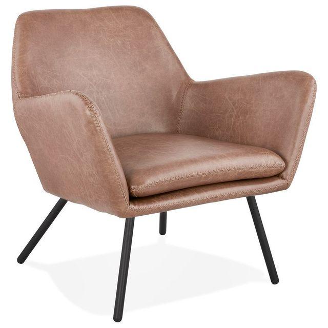 Alterego Fauteuil lounge design 'AMERIKA' en matière synthétique brune