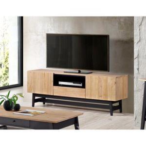 aucune studio meuble tv 160 cm en bois massif vernis et noir pas cher achat vente meubles. Black Bedroom Furniture Sets. Home Design Ideas