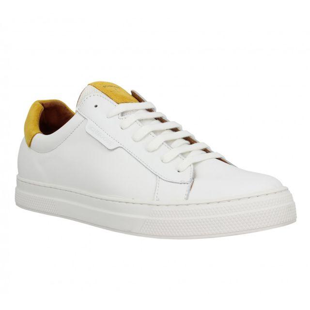 d6b35233dc58 Schmoove - Spark Clay cuir Homme-41-Blanc + Mais - pas cher Achat   Vente  Baskets homme - RueDuCommerce