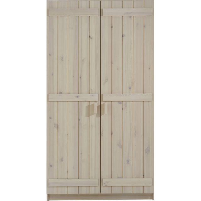Comforium Armoire 2 portes pour enfant 101 cm en pin massif coloris blanc
