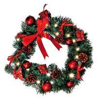 Zisaline - Wreath - Couronne Sapin Boule et Ruban Rouge Led Ø40cm - Guirlande et objet lumineux Xmas Living Glass designé par