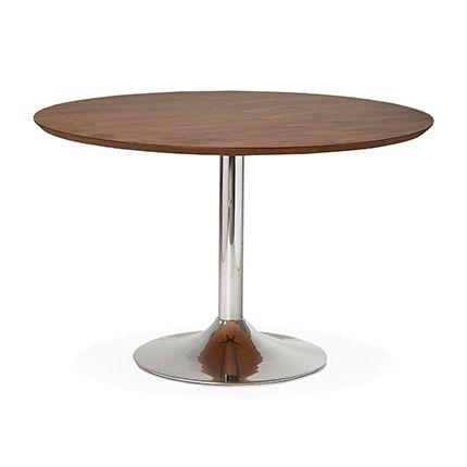 Table à manger 120cm bois et métal bois naturel foncé - Letak