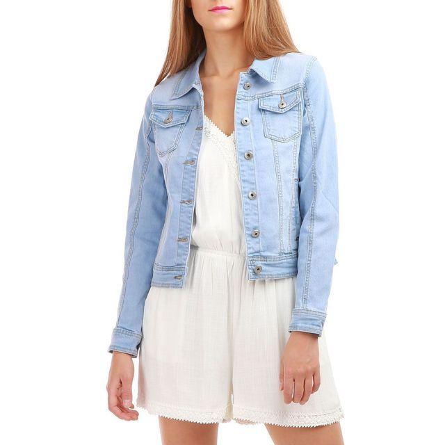 Lamodeuse - Veste bleu clair courte en jean - pas cher Achat   Vente ... f0c36fb7c4be
