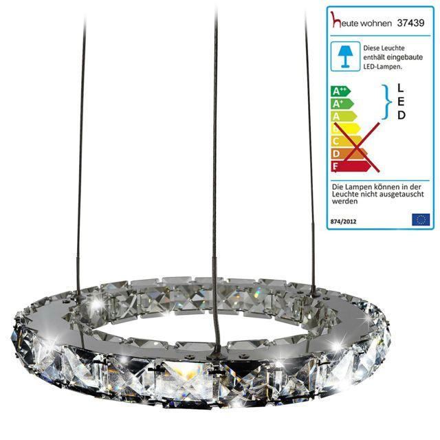 Mendler Led Lampe suspension Hw152 avec pendeloque en verre de cristal ~ 8 Watt