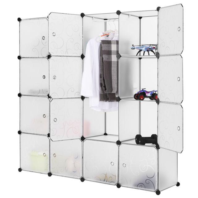 Langria - Penderie Rangement Modulable avec Portes 16 Cubes Garde-Robe de Rangement Portable 1 ...