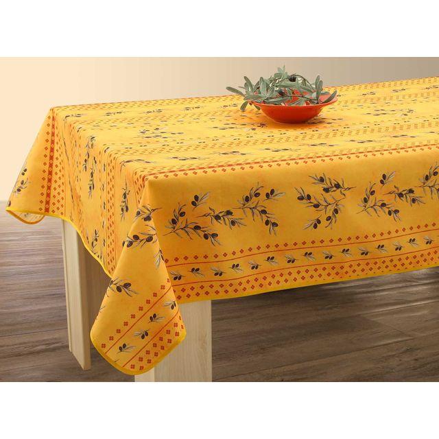 le linge de jules nappe anti taches olivette jaune taille rectangle 150x200 cm pas cher. Black Bedroom Furniture Sets. Home Design Ideas