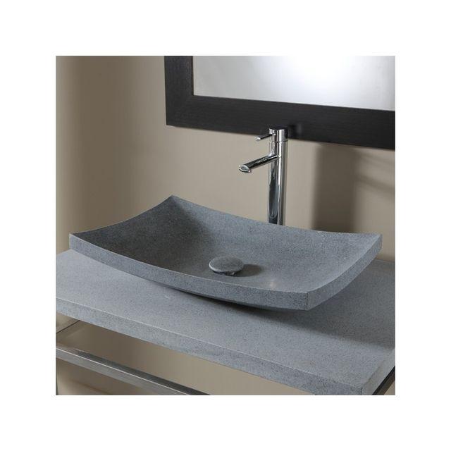 vasque en pierre pas cher Planetebain - Vasque à poser rectangulaire gris ardoisé en pierre